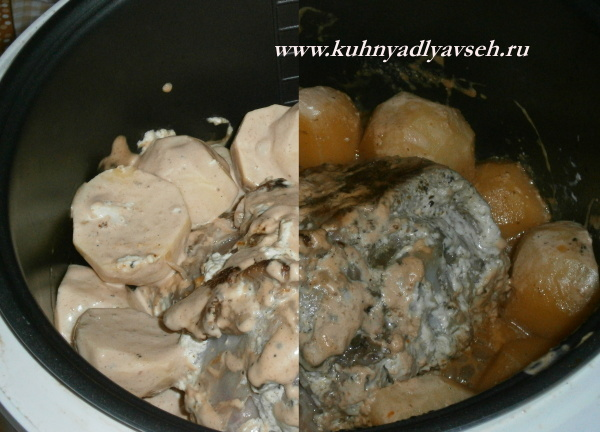 Голень индейки с картофелем в мультиварке