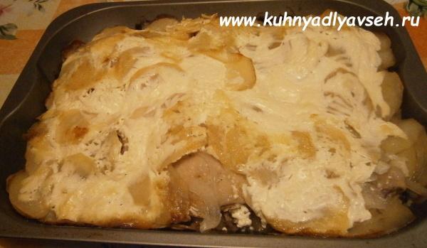куриные окорочка с картофелем и сыром