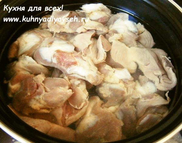 Куриные бёдрышки с желудками в мультиварке