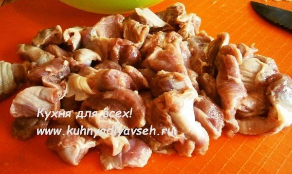 Куриные желудки с подливой
