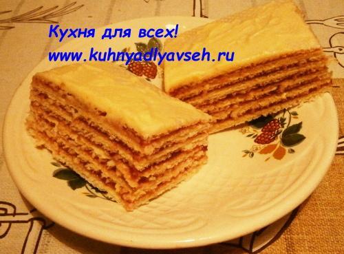 Вафельный торт с кремом из сгущённого молока и джема
