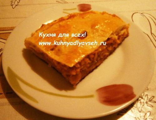 Пирог с тушёной капустой в духовке