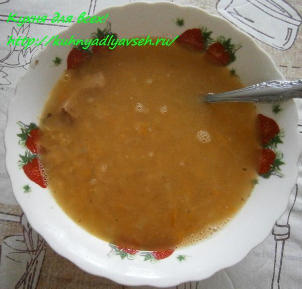 Гороховый суп-пюре с копчёностями